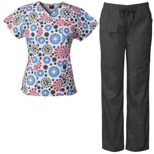 Medgear Women's Scrubs Set Multi-Pocket Top & Pants, Medical Uniform FRWH