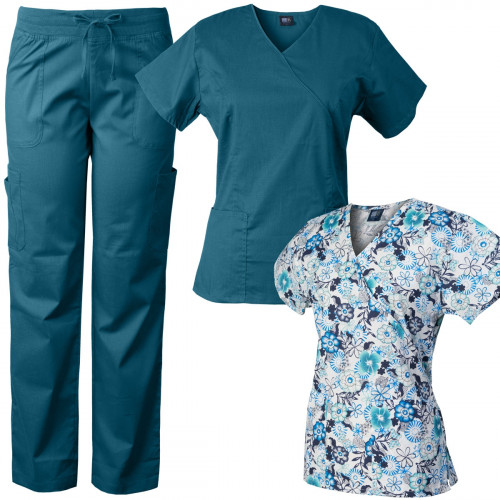 Medgear Comfort Stretch Scrubs Set with Printed Scrub Top Combo 7894-CFRA