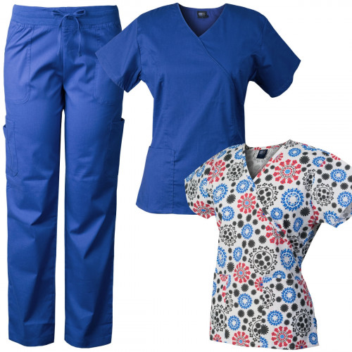 Medgear Comfort Stretch Scrubs Set with Printed Scrub Top Combo 7894-FRWH