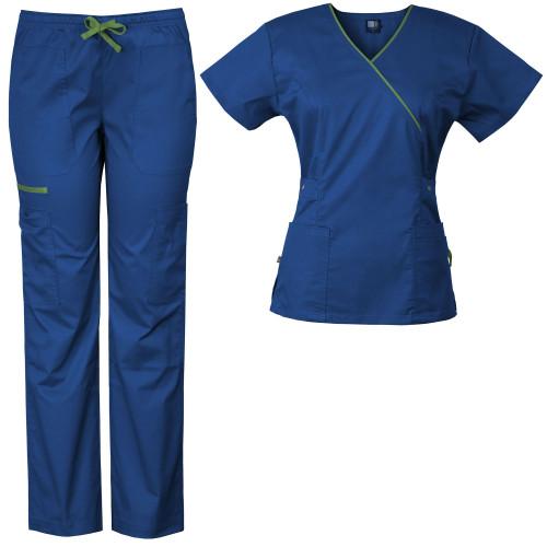 Medgear Women's Stretch Scrubs Set 5-Pocket Top & Multi-Pocket Pants