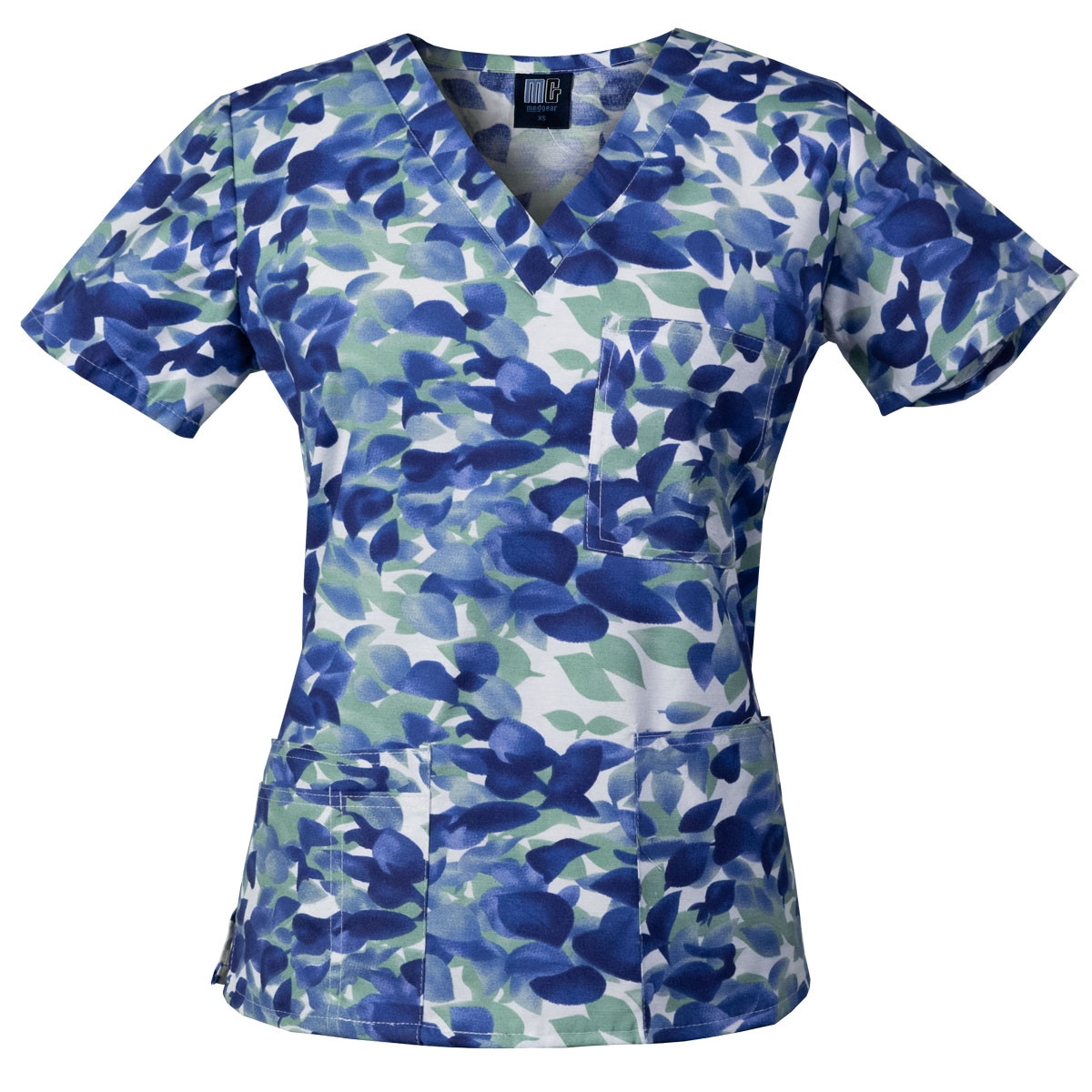 d89fc749408 Medgear Womens Fashion Scrubs Top, Printed V-neck with 4-Pockets. Display  Gallery Item 1 ...