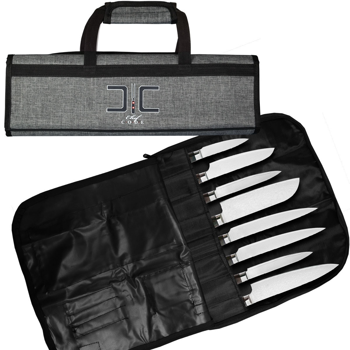 Chef Code Knife Bag 8 Roll With Accessory Mesh Pockets