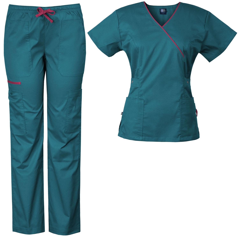 5e71bc76325 Medgear Women's Stretch Scrubs Set 5-Pocket Top & Multi-Pocket Pants 7896ST  - PACuniforms.com