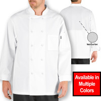 Chef Code Lightweight Cool Breeze Chef Coat with Long-Sleeves and Mesh Vent Inlay