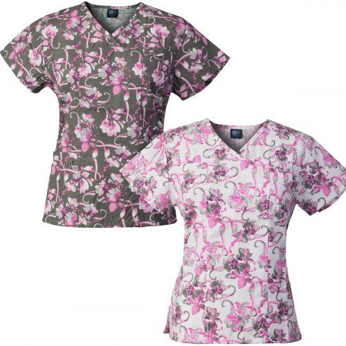 Medgear 2-PACK Womens Printed Scrub Tops with 4 Pockets & ID Loop BCCG-BCWH