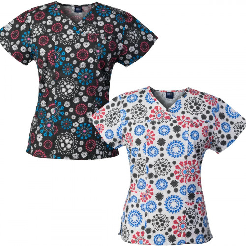 Medgear 2-PACK Womens Printed Scrub Tops with 4 Pockets & ID Loop FFRB-FRWH