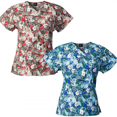 Medgear 2-PACK Womens Printed Scrub Tops with 4 Pockets & ID Loop FFRD-FFRO