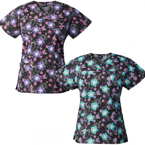 Medgear 2-PACK Womens Printed Scrub Tops with 4 Pockets & ID Loop FPAB-FPLB