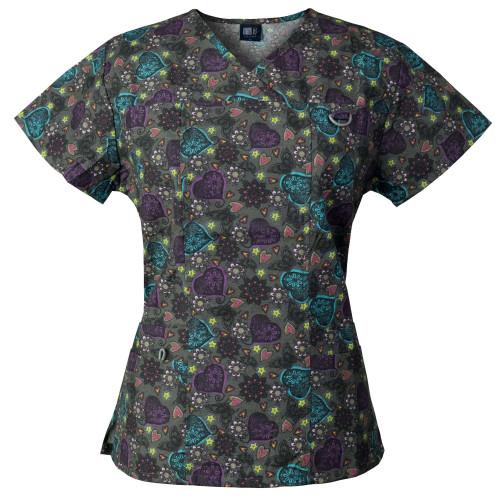 Medgear Women's Scrub Top with ID loop & 4 Pocket, Medical Uniform 1039DOCH
