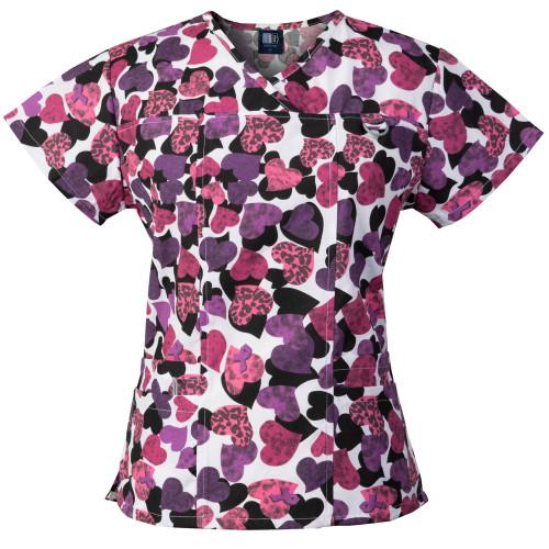 Medgear Women's Scrub Top with ID loop & 4 Pocket, Medical Uniform 1039-HEPI