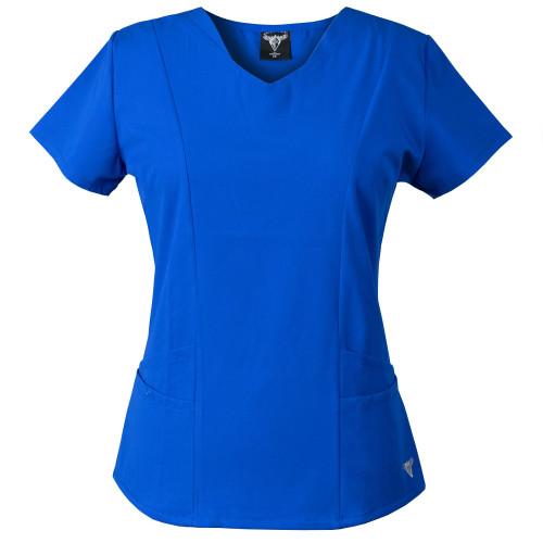 MaterialGirl Women's Scrub Top Eversoft Stretch Rayon Blend, Sporty V-neck