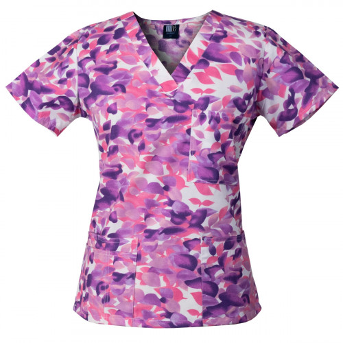 Medgear Womens Fashion Scrubs Top, Printed V-neck with 4-Pockets
