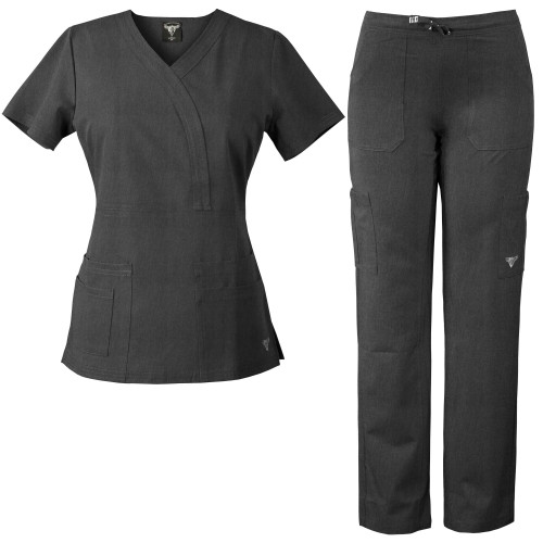 MaterialGirl Women's Stretch Rayon Scrub Set Eversoft Mock-Wrap & Pants