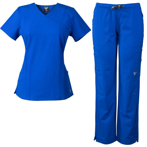 MaterialGirl Women's Stretch Rayon Scrub Set Eversoft Top & Elastic Pants