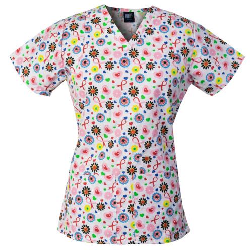 MedGear Junior Fit Scrubs Top, V-neck & 3 Pockets, Medical Uniform SHWH