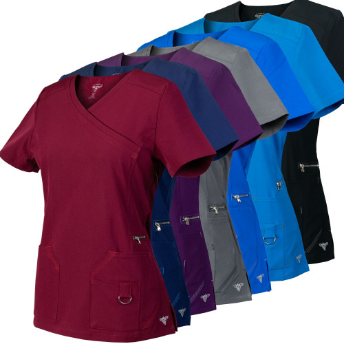 Medgear 2-PACK SuperFlex Mock-Wrap Scrubs Top with Contrast Stitching in Dobby 4-way Stretch