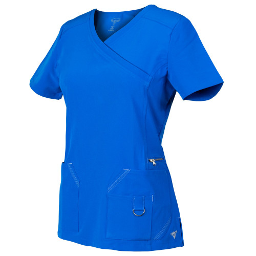 MG SuperFlex Mock-Wrap Scrubs Top with Contrast Stitching in Dobby 4-way Stretch