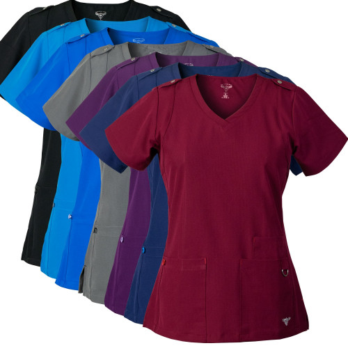 Medgear 2-PACK SuperFlex ActiveWear Scrubs Top w/ Shoulder Tab Detail and 4-way Stretch