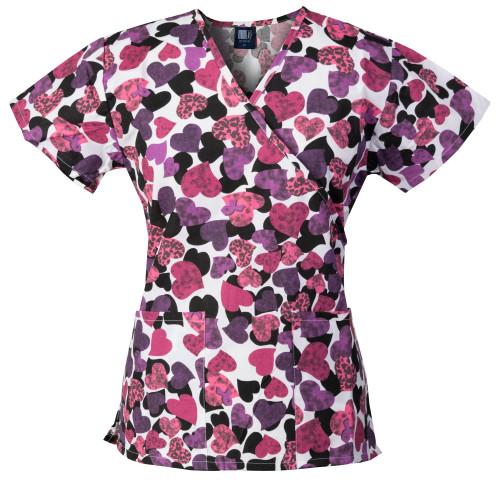 Medgear Womens Fashion Scrubs Top, Mock-Wrap with Back Ties 109P-HEPI