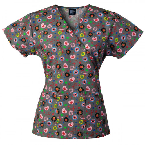 Medgear Womens Fashion Scrubs Top, Mock-Wrap with Back Ties 109P-SHCH