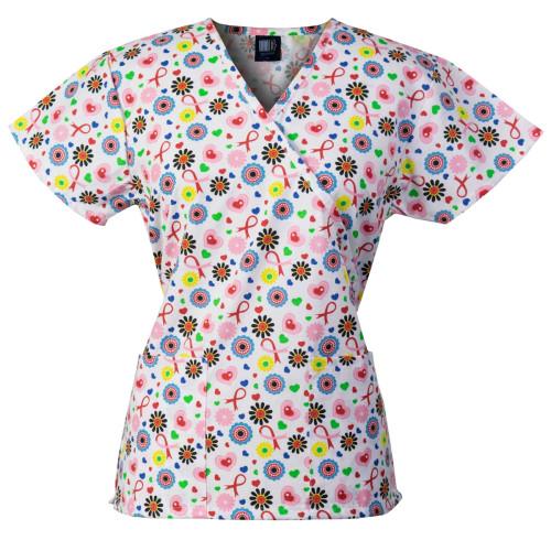 Medgear Womens Fashion Scrubs Top, Mock-Wrap with Back Ties 109P-SHWH