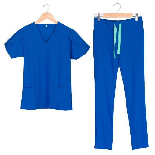 Women's 8-pocket Scrub Set in 4-way Stretch Fabric, V-neck with Tulip Sleeves