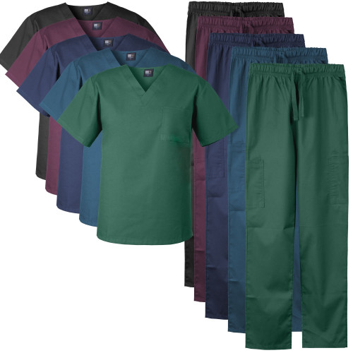 Medgear Men's Stretch Scrubs Set V-neck Top and Cargo Pants for Men and Women