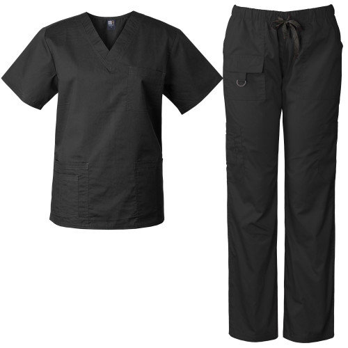 Medgear Unisex Scrub Set, V-neck Top and Multi-pocket Utility Pants