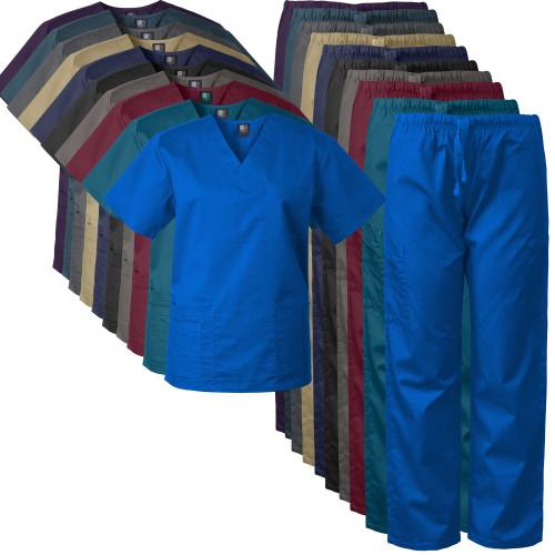 2-PACK Medgear Scrubs for Men and Women Scrubs Set Medical Uniform Scrubs Top and Pants