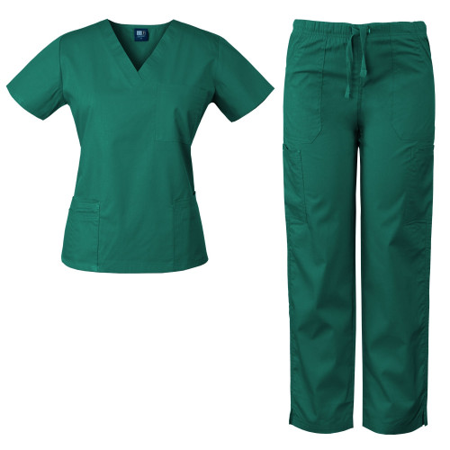 MedGear Womens Scrubs Set Medical Uniform - 4 Pocket Top & Multi-pocket Pants