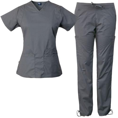 Medgear 10-Pocket Women's Stretch Medical Scrubs Set Top & Pants