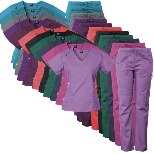 Medgear 14-Pocket Women's Stretch Medical Scrubs Set with Silver Snap Buttons