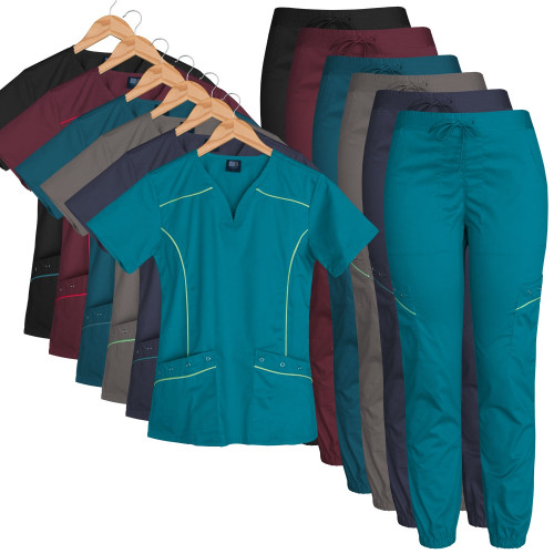 Medgear Women's Stretch Scrub Set Moto Inspired Top and Jogger Pants