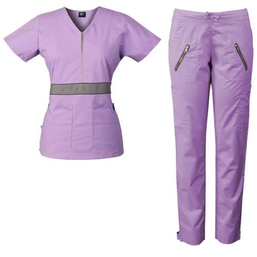 Women's Scrub Set with Feminine Detail, Half Zipper with Color-Block Waistband