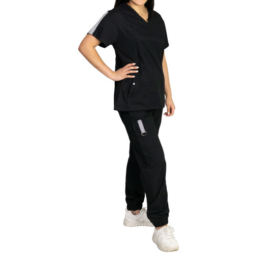 Medgear Racer Inspired Jogger Scrub Set with Snap Pocket Detail