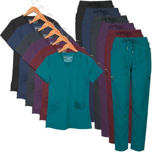 Medgear Women's 12-Pocket Athletic Slim Fit Scrubs Set with Zipper Detail