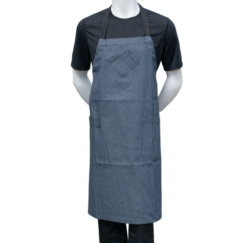 "Chef Code 36"" Denim Bib Apron with Adjustable Strap-BLUE"