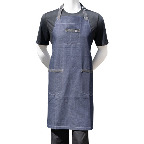 "Chef Code 34"" Denim Bib Apron with 3 Pockets"