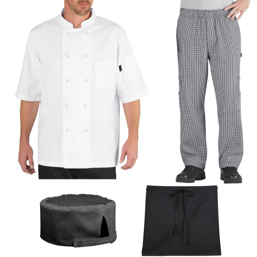 Chef Code Student Chef Bundle Pack Includes Chef Coat, Pants, Hat & Apron