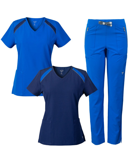 MG SuperFlex 3-Piece Stretch Scrubs Combo, V-neck Tops and Multi-Pocket Pant