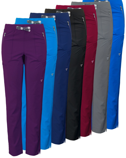 Women's MG SuperFlex Athletic Fit Stretch Slim Leg Scrub Pant with Zipper Pocket Detail