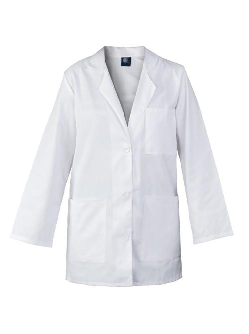 """Medgear 33"""" White Lab Coat for Women - 3-pockets, Long Sleeves"""