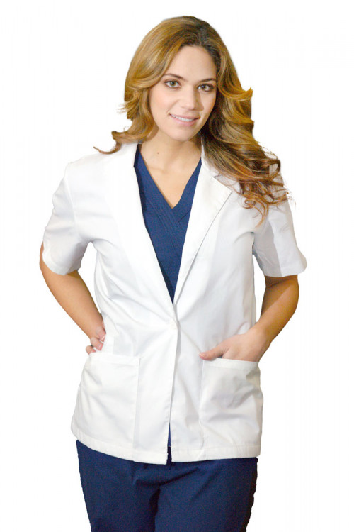 """Medgear 28"""" White Lab Coat for Women, Short Sleeves"""