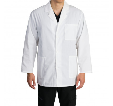 "Medgear 33"" Mens White Lab Coat, Notched Collar, Long Sleeve"