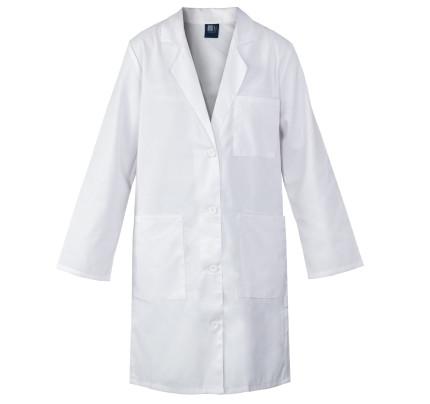 """Medgear 39"""" White Lab Coat for Women - 3-pockets, Long Sleeves"""
