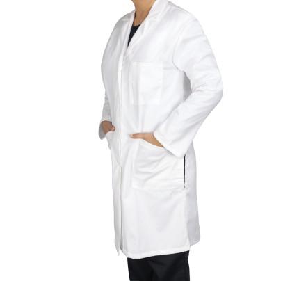 """Medgear 39"""" White Lab Coat for Women - 5 Pockets, Long Sleeves"""