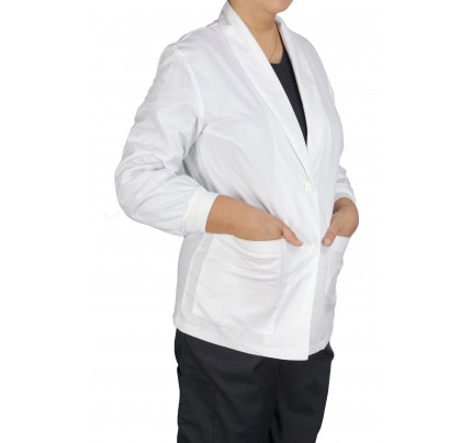 "Medgear 33"" White Lab Coat for Women - Shawl Collar & Back Tie"