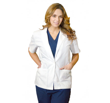 "Medgear 28"" White Lab Coat for Women, Short Sleeves"