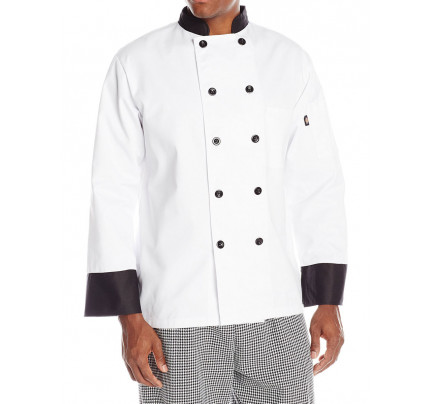 Dickies 10 Button Chef Coat with Black Buttons & Trim, DC120